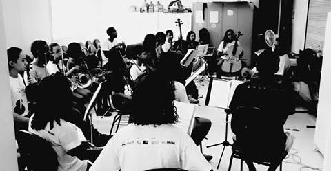 Primeiro ensaio da Orquestra de Câmara da Rocinha em 2016